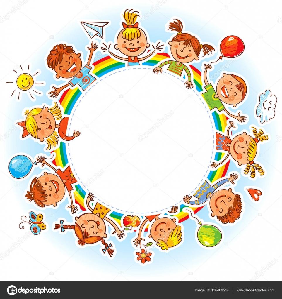 Groupe d enfants avec blanc dessin comme des enfants - Dessin main enfant ...