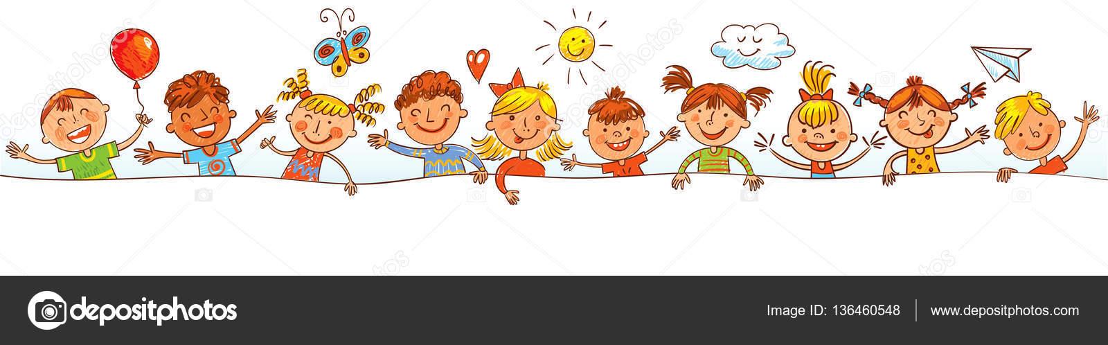 Groupe d enfants avec blanc dessin comme des enfants image vectorielle kharlamova lv 136460548 - Dessin groupe d enfants ...
