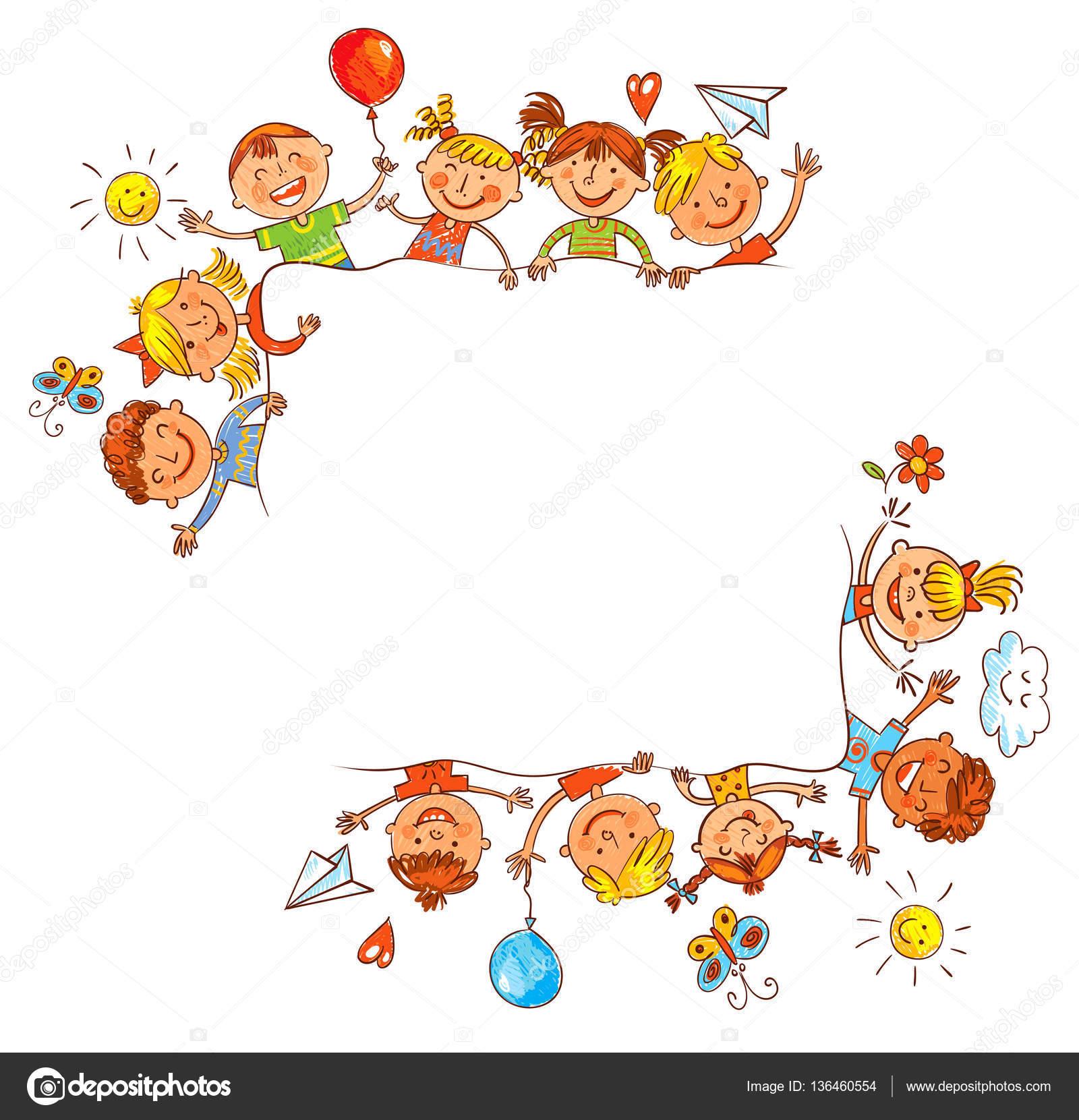 Groupe d enfants avec blanc dessin comme des enfants image vectorielle kharlamova lv 136460554 - Dessin groupe d enfants ...