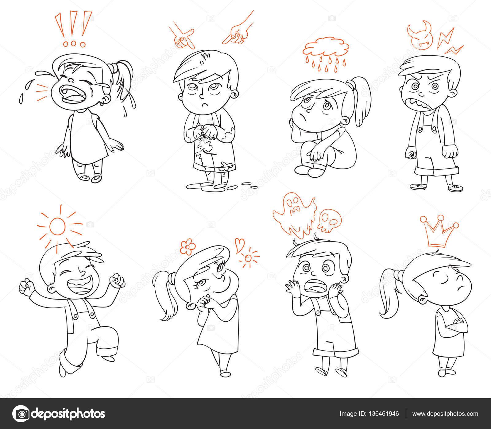 Emociones Básicas Personaje De Dibujos Animados Divertido Archivo