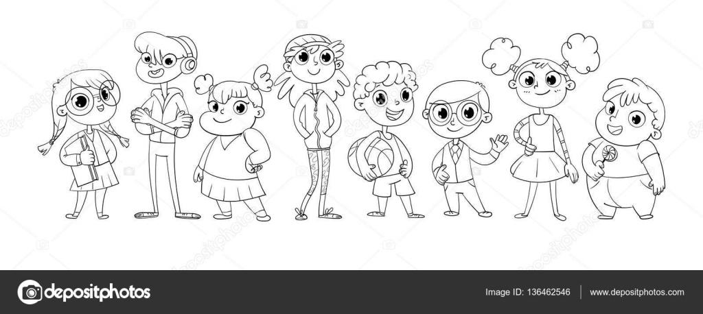 Imágenes: niños en fila para colorear | Linda variedad de niños ...