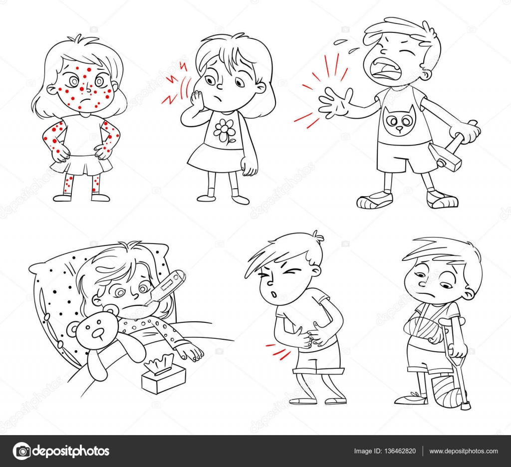 çocuk Hasta Komik çizgi Film Karakteri Stok Vektör