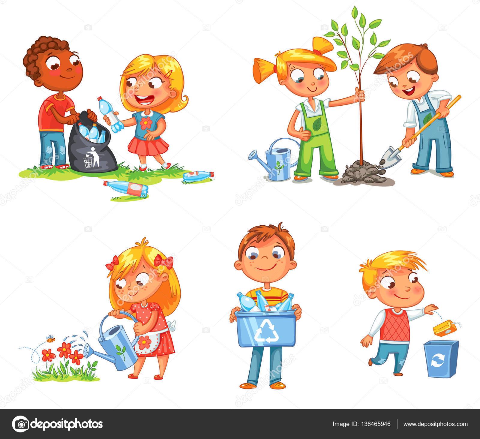 Okologische Kinder Design Lustige Comic Figur Stockvektor