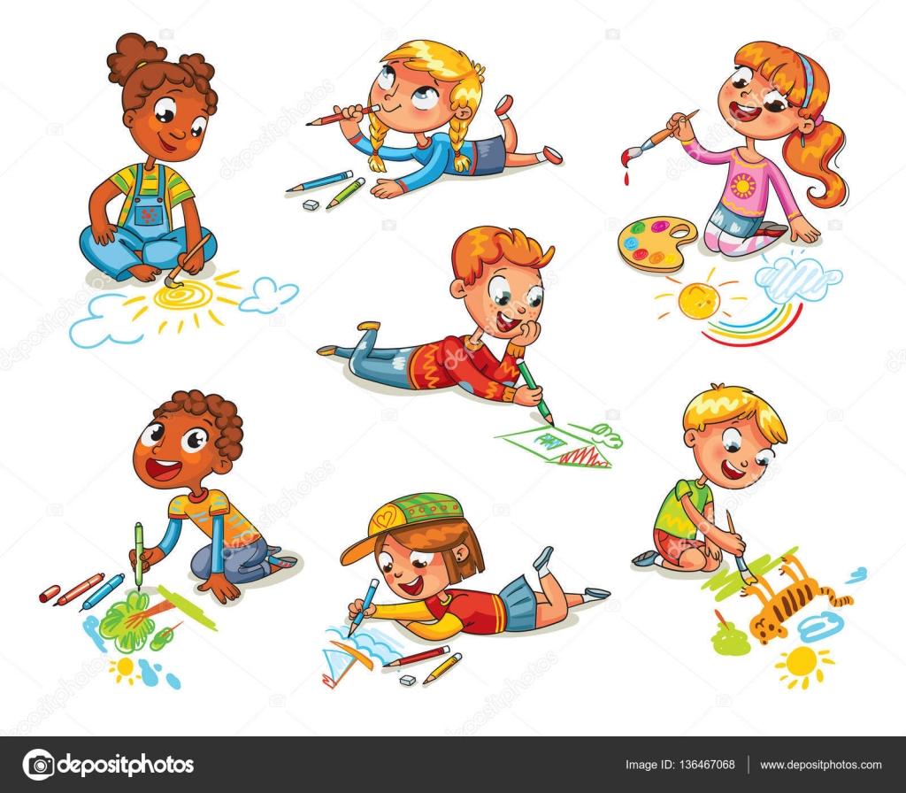 Children S Scribble Drawing : Kleine kinder malen bilder stifte und farben — stockvektor