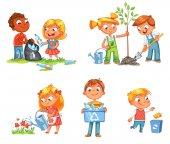 Fotografie Ökologische Kinder Design. Lustige Comic-Figur