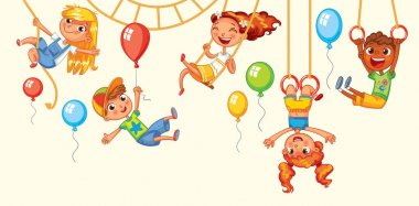 Children have fun on the rides. Amusement park. Playground