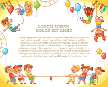 Amusement park. Playground. Template for advertising brochure