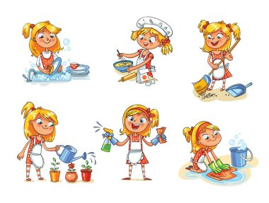 House cleaning. Girl is busy at home. Funny cartoon character