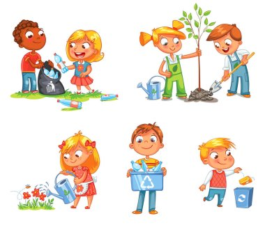 Ecological kids design. Funny cartoon character