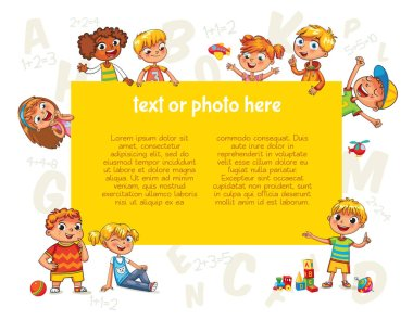Happy children holding blank poster. Template for advertising brochure