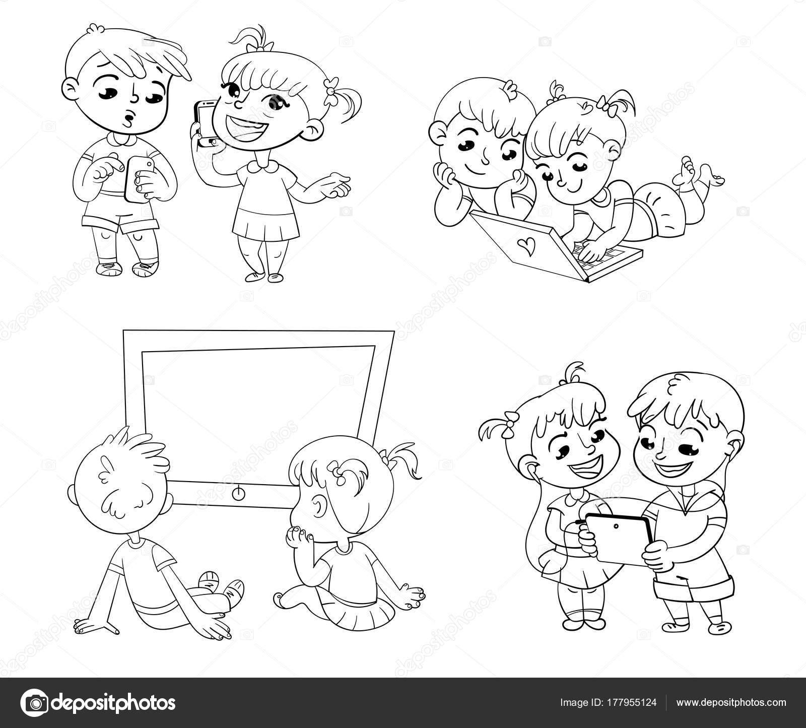 Los niños y los progresos técnicos. Libro para colorear — Archivo ...