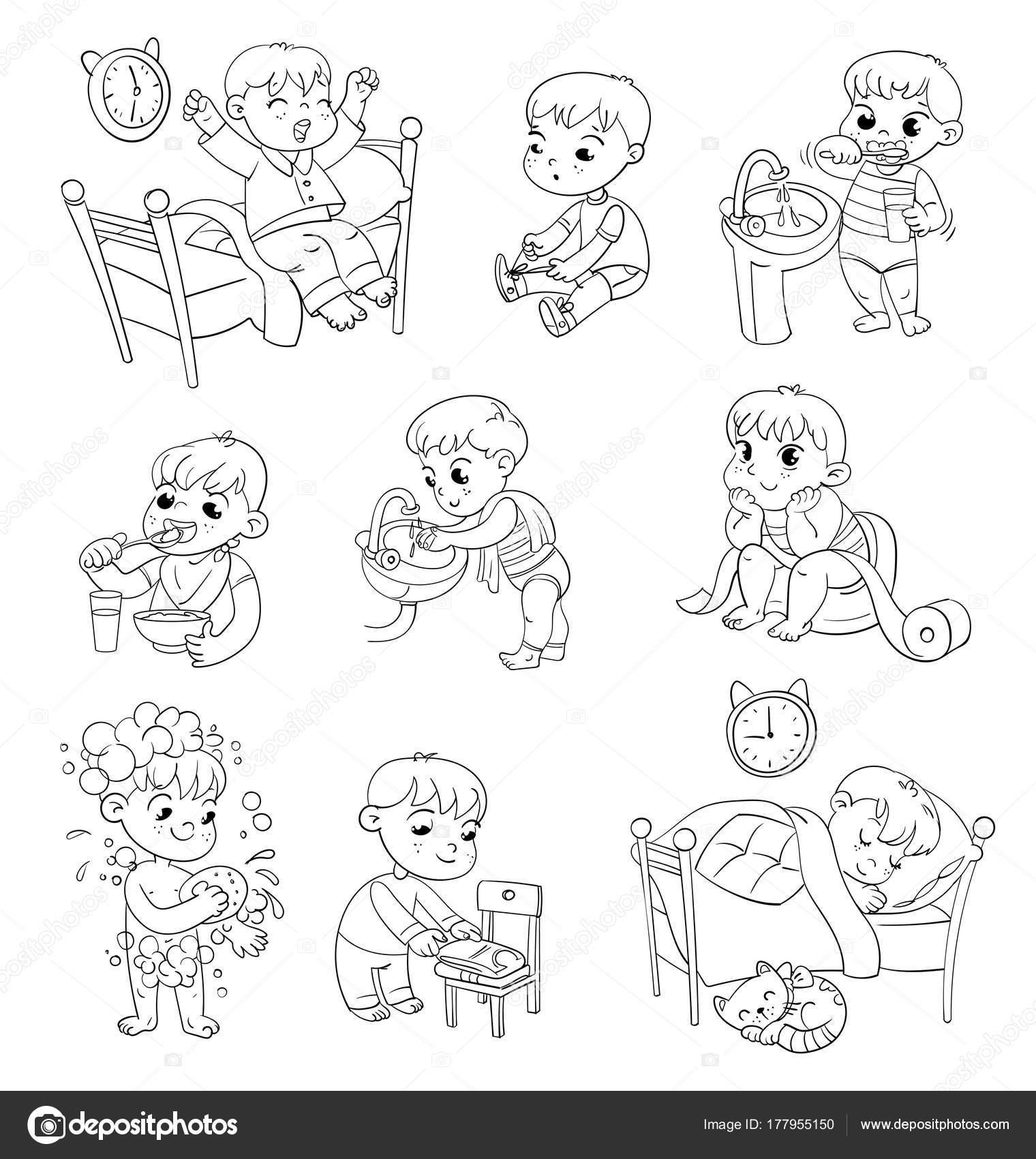 Cartoon-Kind tägliche Routinetätigkeiten Satz — Stockvektor ...