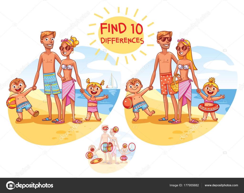 Vector Feliz Viaje Familia: Imágenes: Encuentra Las 10 Diferencias