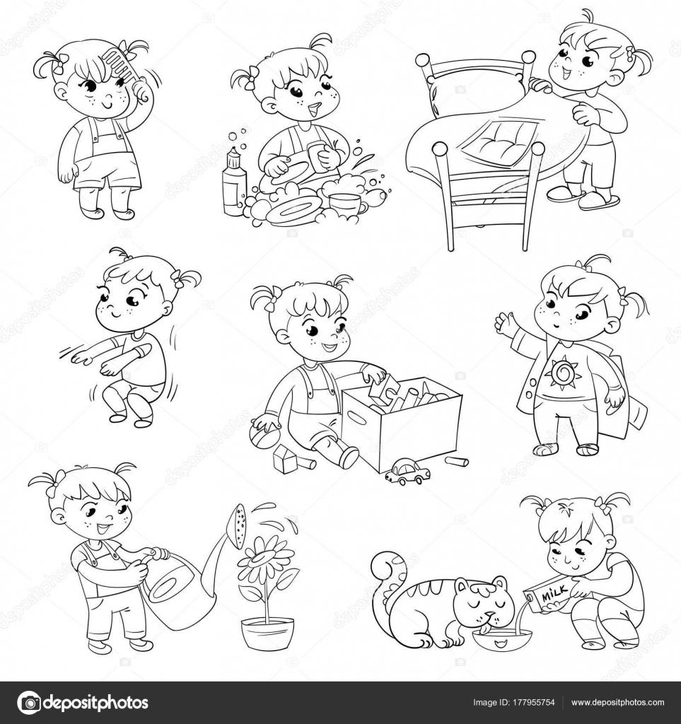Imágenes Personas Lavando Trastes Para Colorear Dibujos Animados