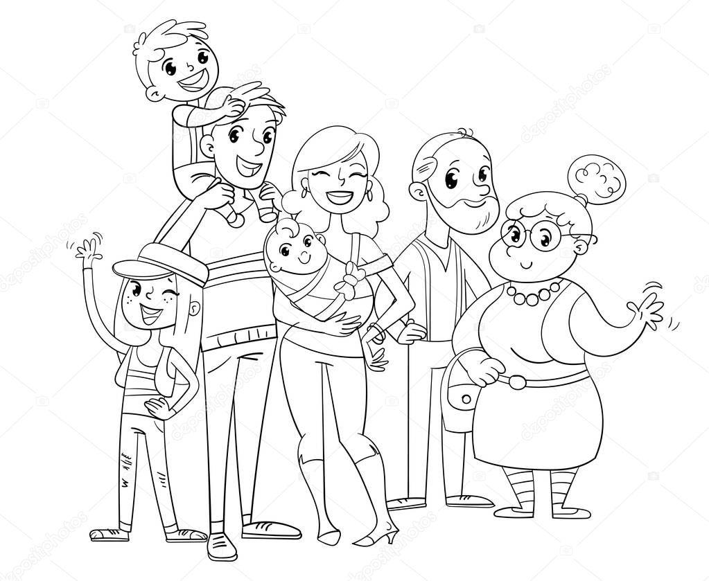 Ma grande famille posant ensemble. Livre de coloriage ...