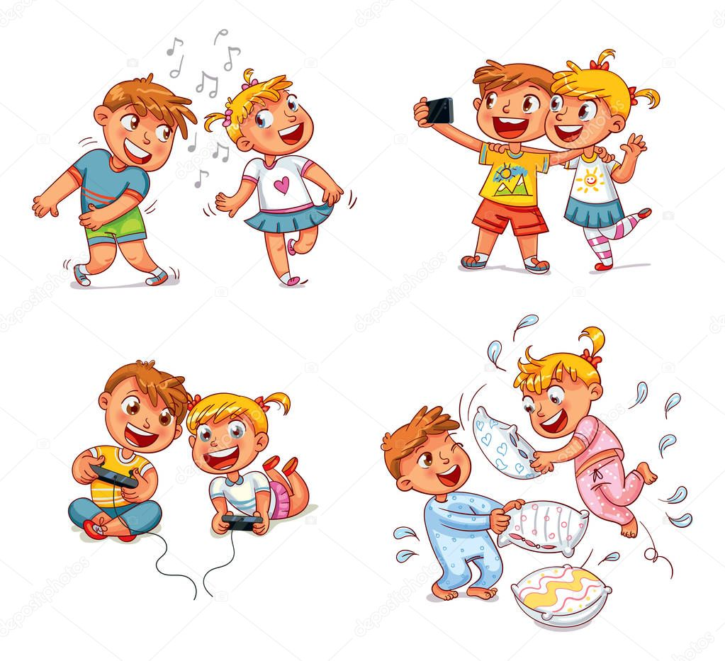 Kids To Make Self Portrait Together With Mobile Device In Hand Boy And Girl Playing Video Games Dancing To Music Brother And Sister Fight With Pillows Funny Cartoon Character Vector Illustration