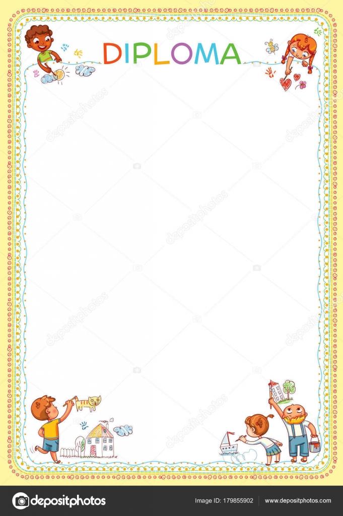 Concurso de dibujos de los niños. Plantilla para diploma — Archivo ...