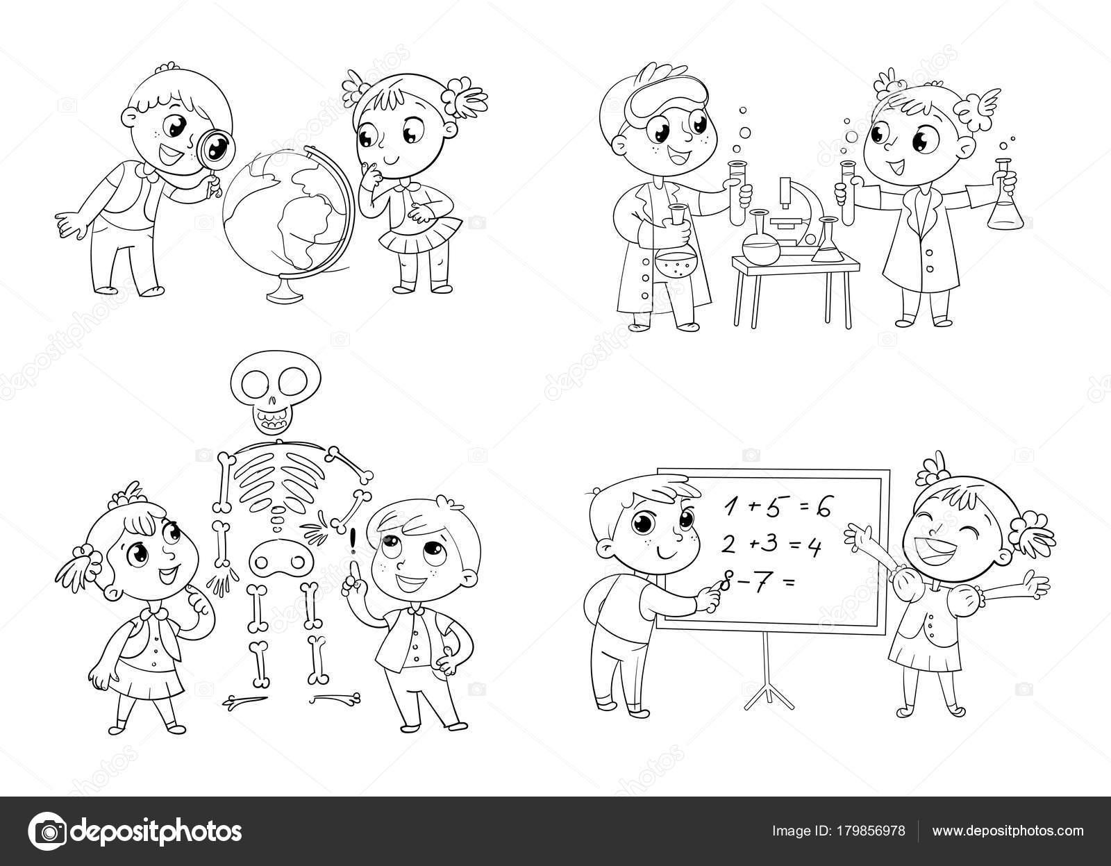 Niños en la lección de geografía, química, matemáticas y biología ...