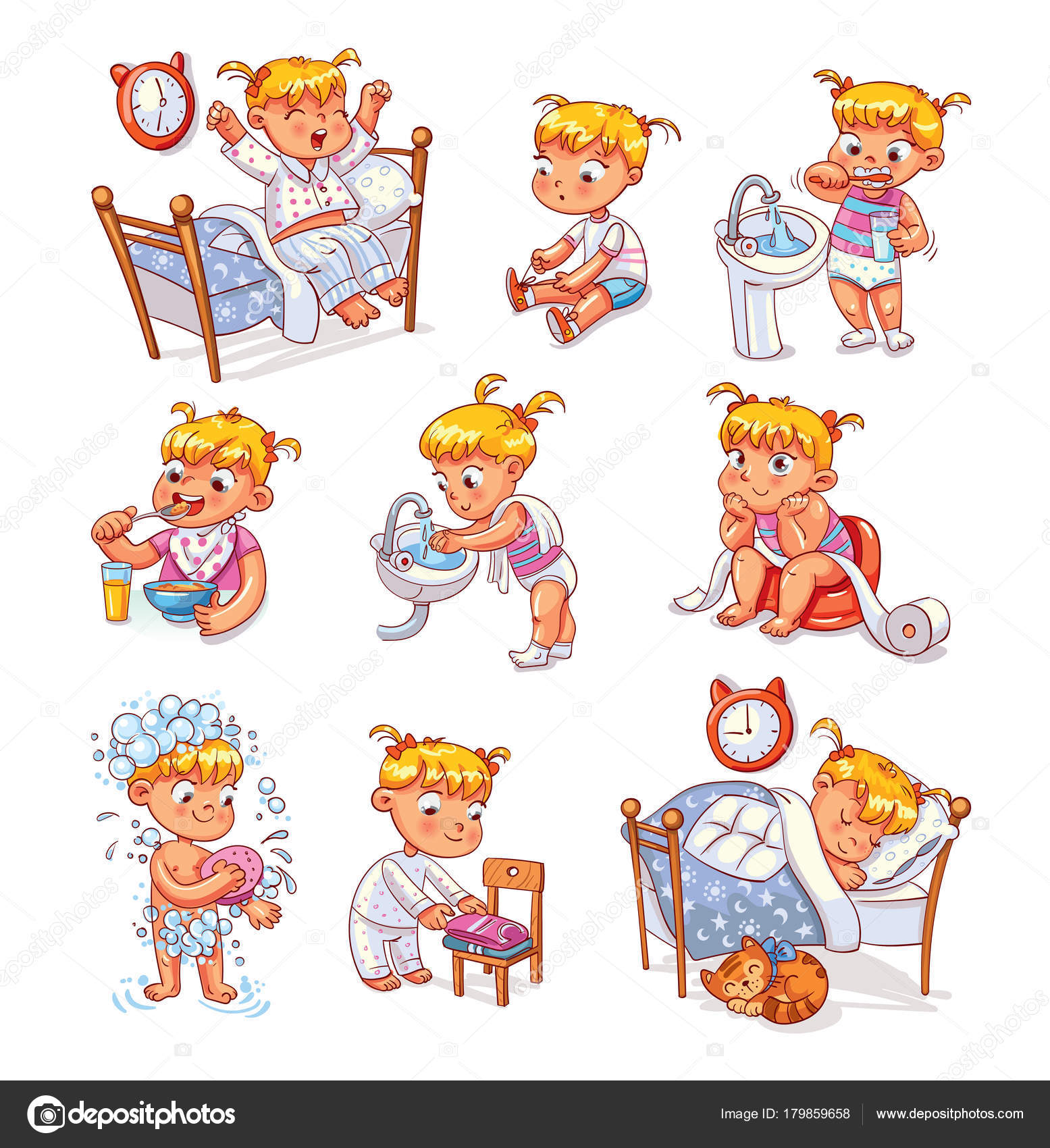 Cartoon kid daily routine activities set — Stock Vector ...