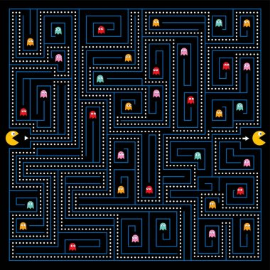 Help the Pacman character to find a way out of the maze