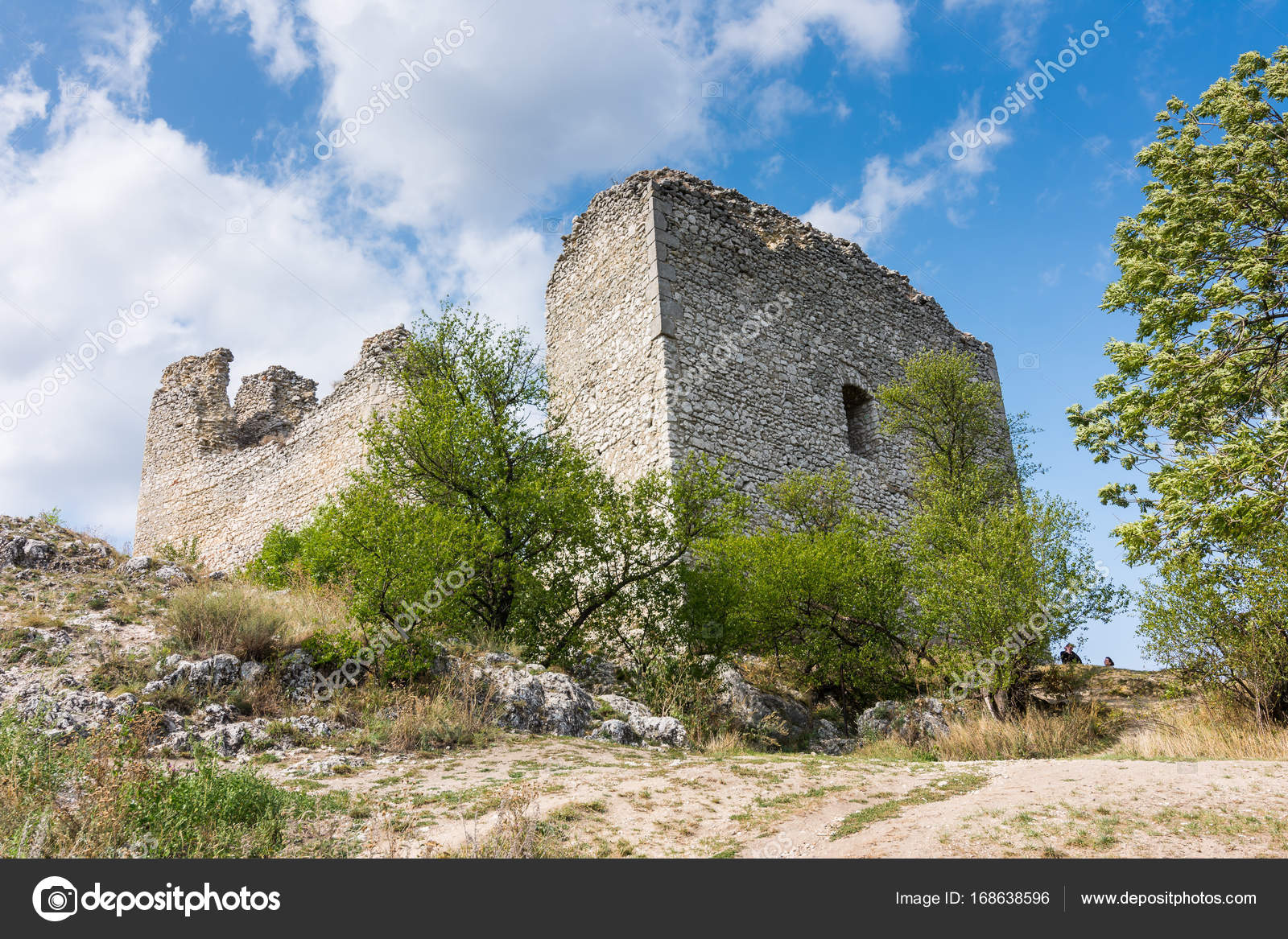 Castle Ruin On The Hill Blue Sky And White Clouds Path On