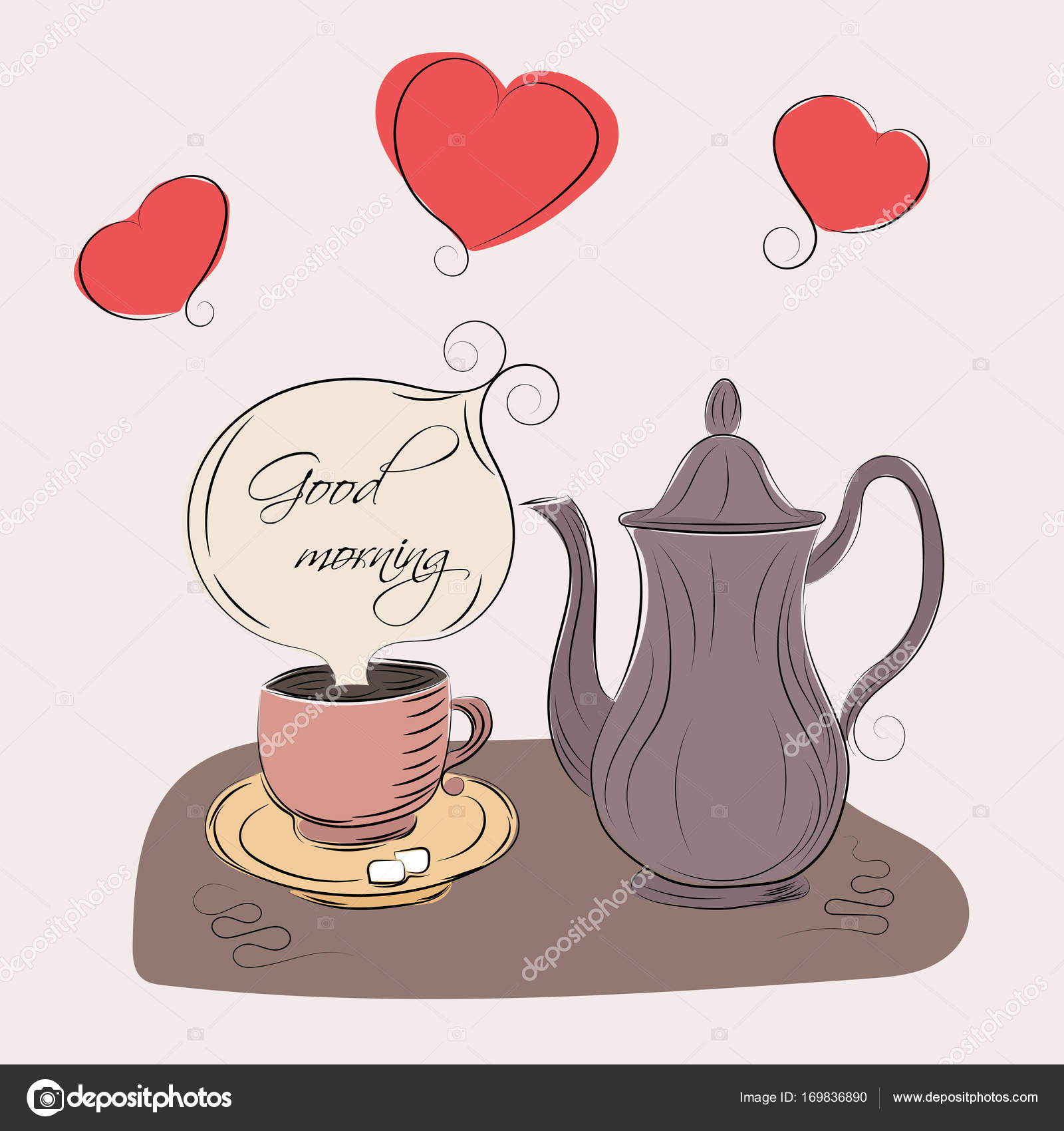 A Coffee Cup And Coffeepot Stock Vector C Polina Niko 169836890