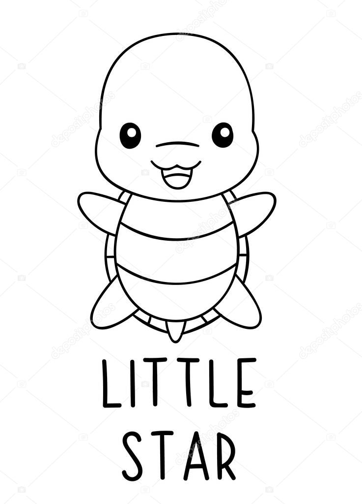Coloring Pages Black And White Cute Kawaii Hand Drawn Turtle Doodles Lettering Little Star Print Premium Vector In Adobe Illustrator Ai Ai Format Encapsulated Postscript Eps Eps Format