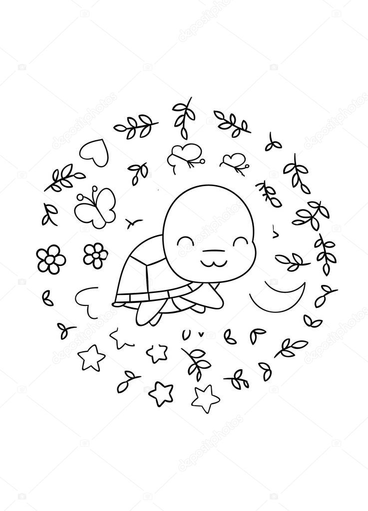 Coloring Pages Black And White Cute Kawaii Hand Drawn Turtle Doodles Circle Print Print Premium Vector In Adobe Illustrator Ai Ai Format Encapsulated Postscript Eps Eps Format