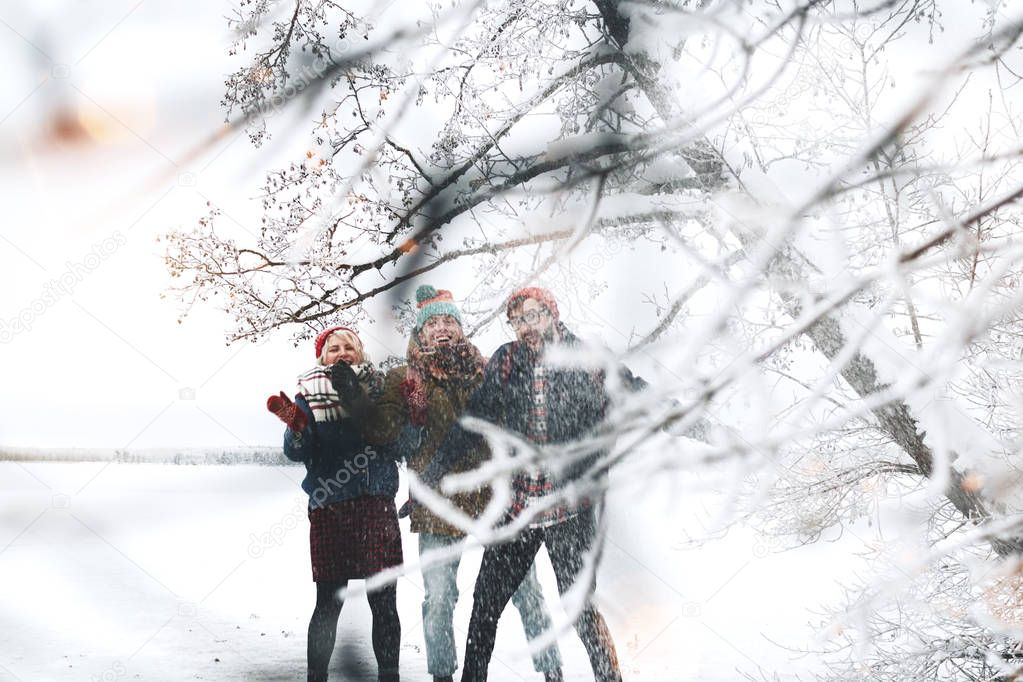Company of friends are having fun and enjoying the snowfall. Group of man and woman walking around the winter lake