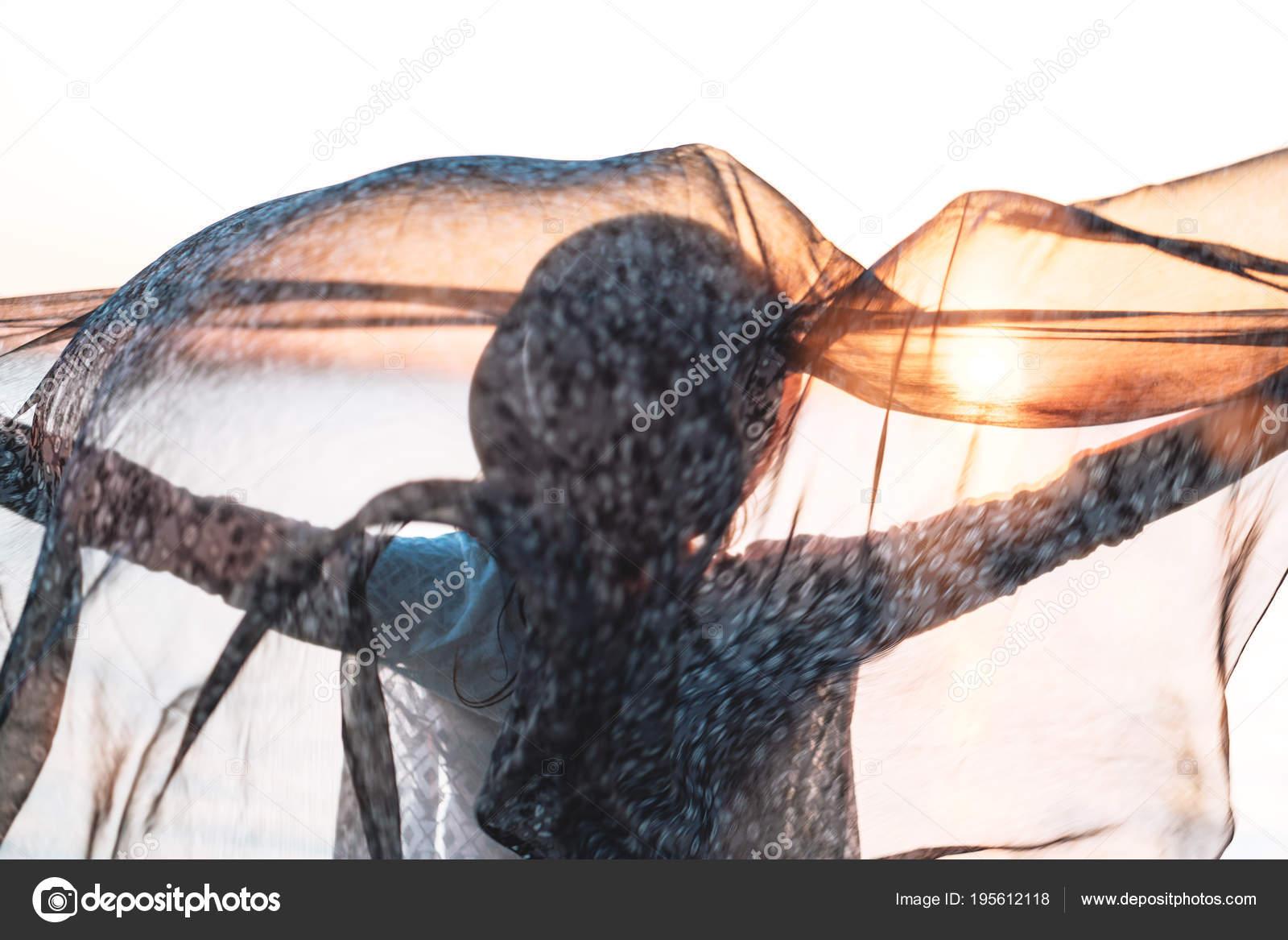 86a1782a5 Beautiful Woman Standing Silk Fabric Hand Summer Breeze Female ...