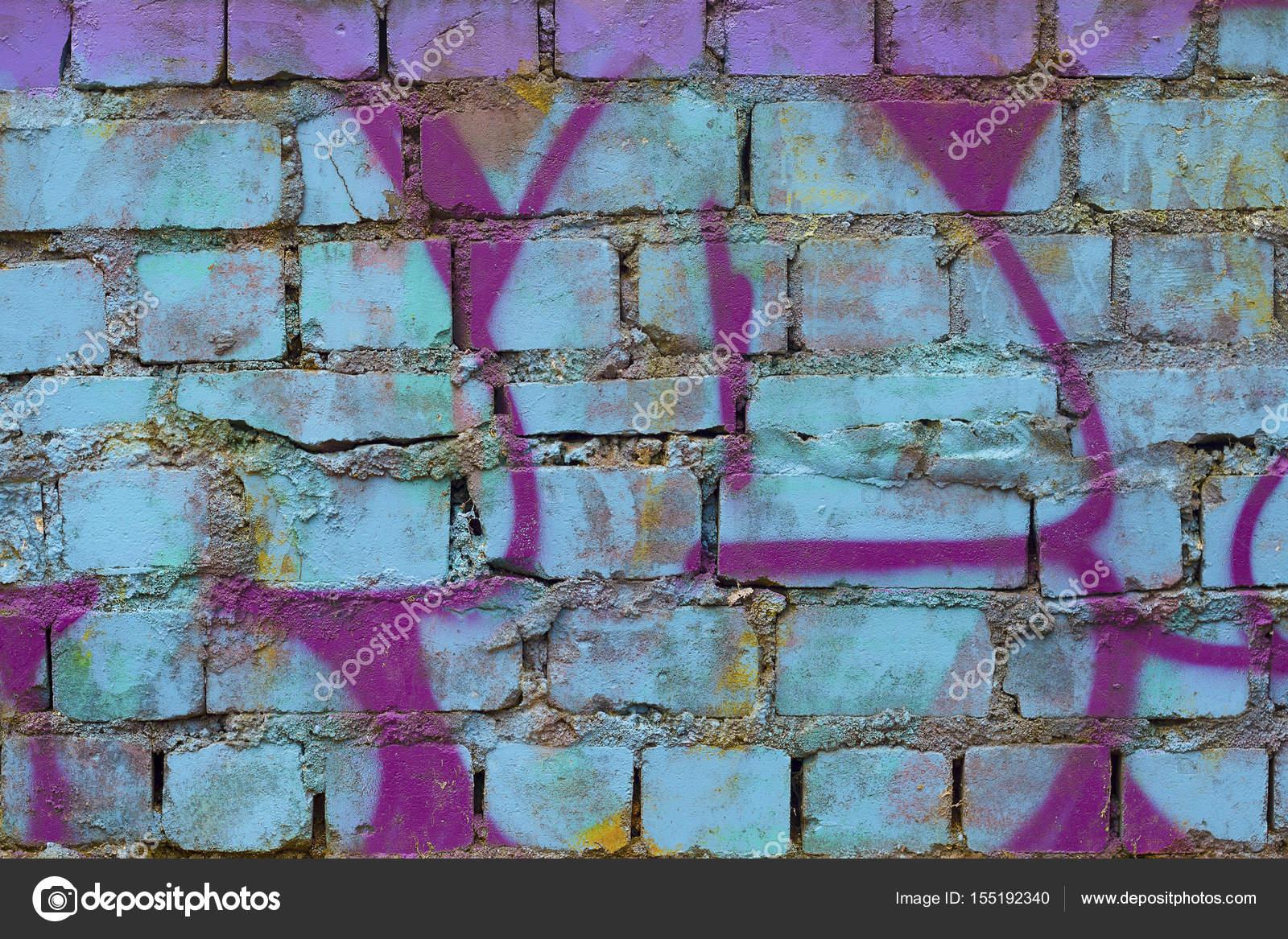 Brick Wall With Graffiti Stock Photo 155192340