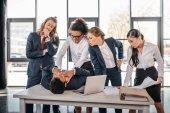 multicultural business team quarreling