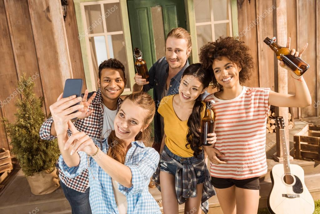 multiethnic friends having fun