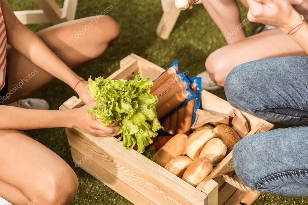 Young friends with picnic basket