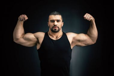 strong man showing muscles