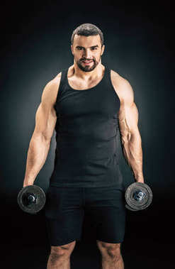 man with dumbbells in hands