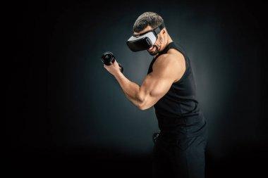 Man exercising in vr headset