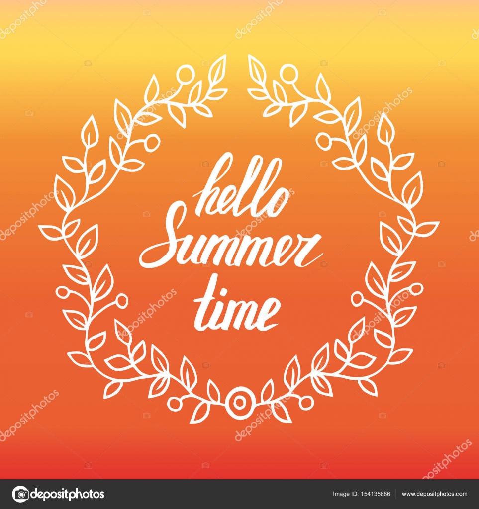 Marco redondo de hojas con letras palabras Hola horario de verano ...