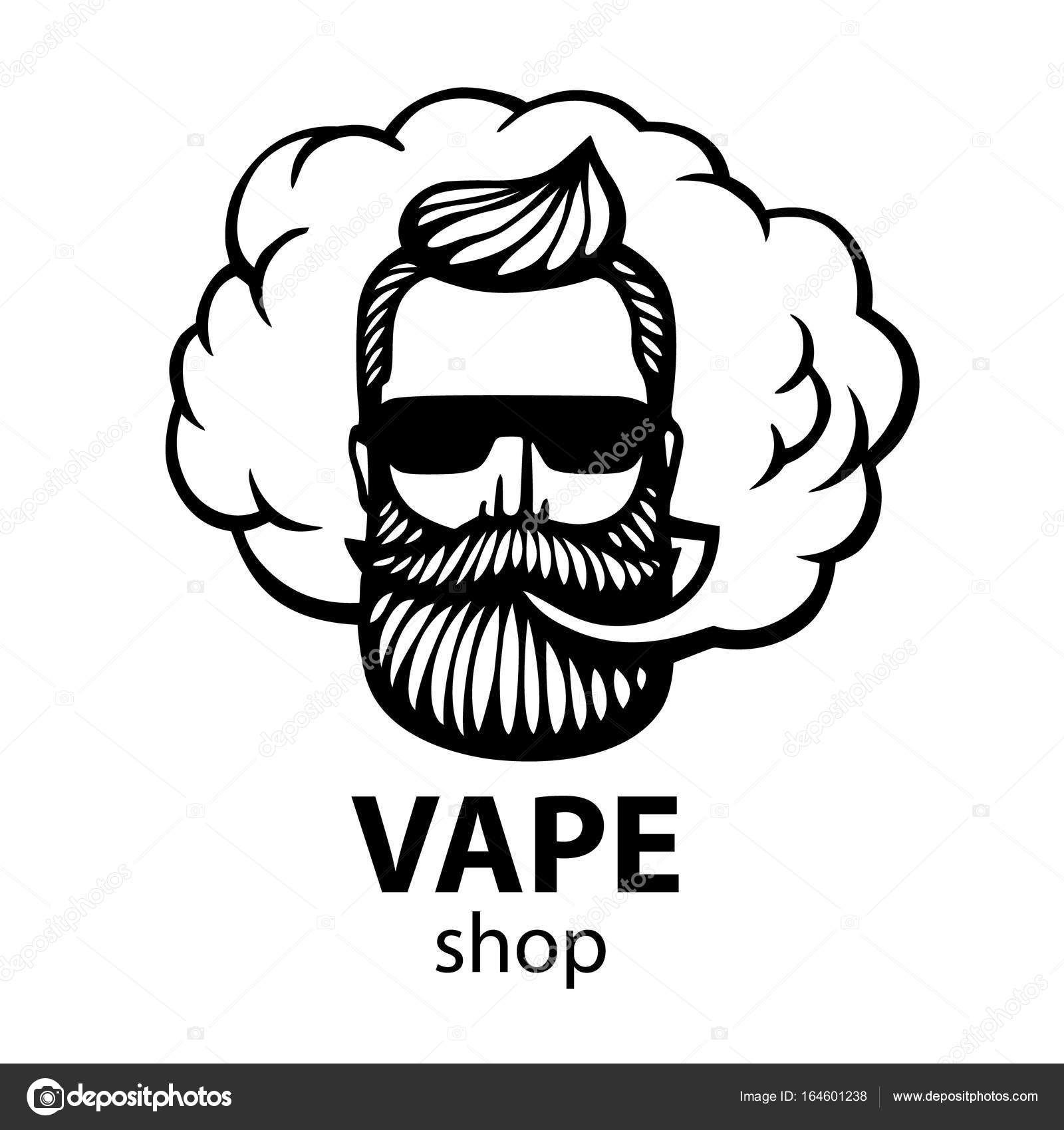 Hand drawn hipster with mustache and beard man with vape and cloud electronic cigarette vector stickers logo vector by art redboxgmail com