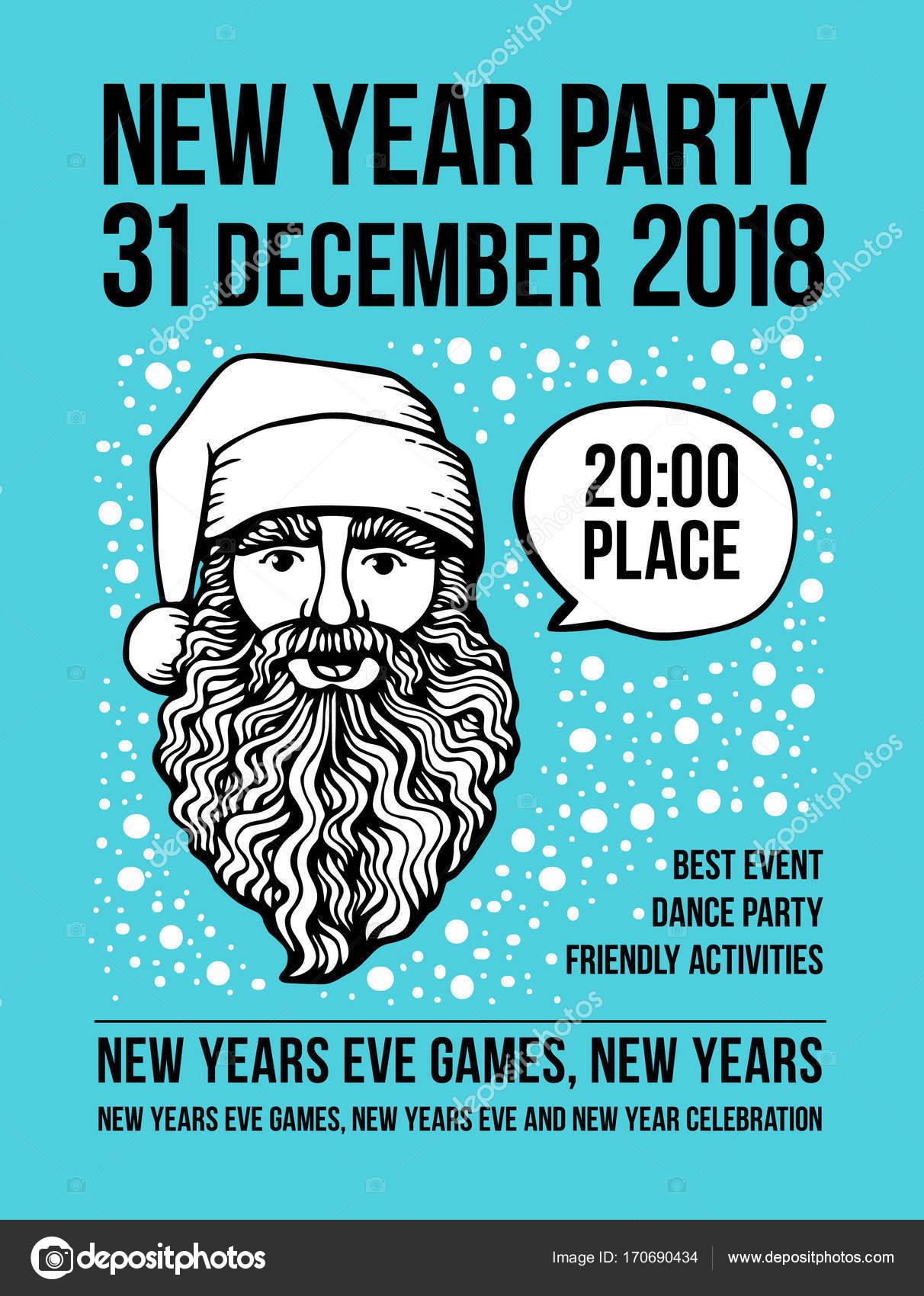 Vektor Silvester Party Poster Mit Santa Und Blase Urlaub