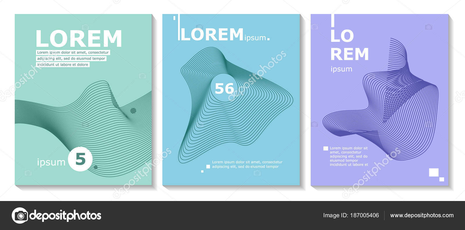 set of brochure annual report flyer design templates with line