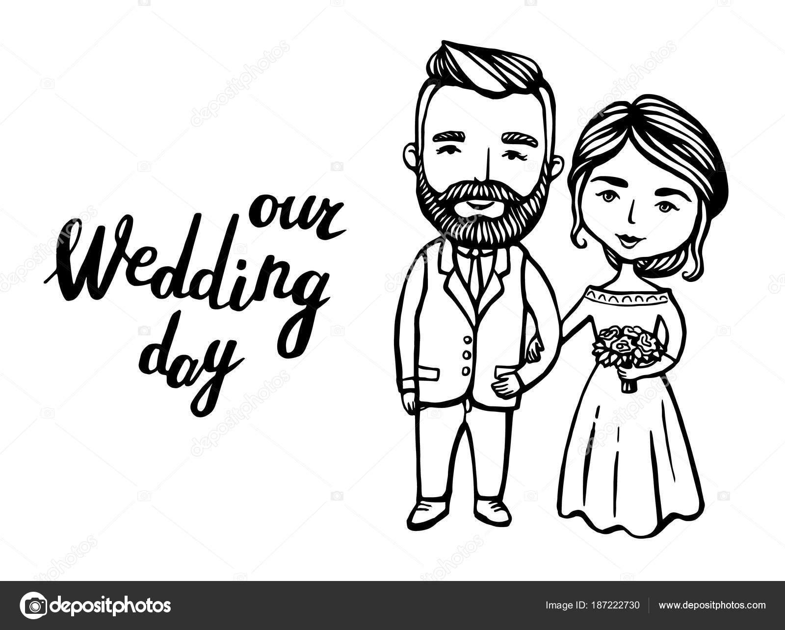 Invitaciones de boda par. Novio de hipster con bigote, barba con ...