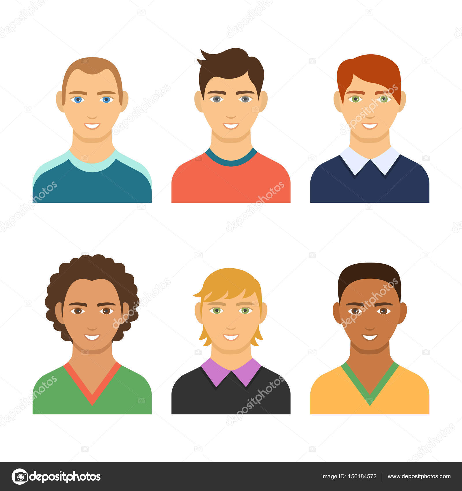 Set of business avatar peoples in flat colorful style