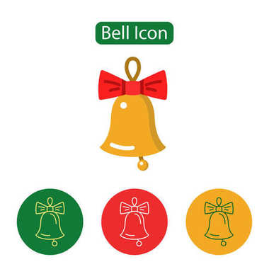 Christmas bell decoration icon.