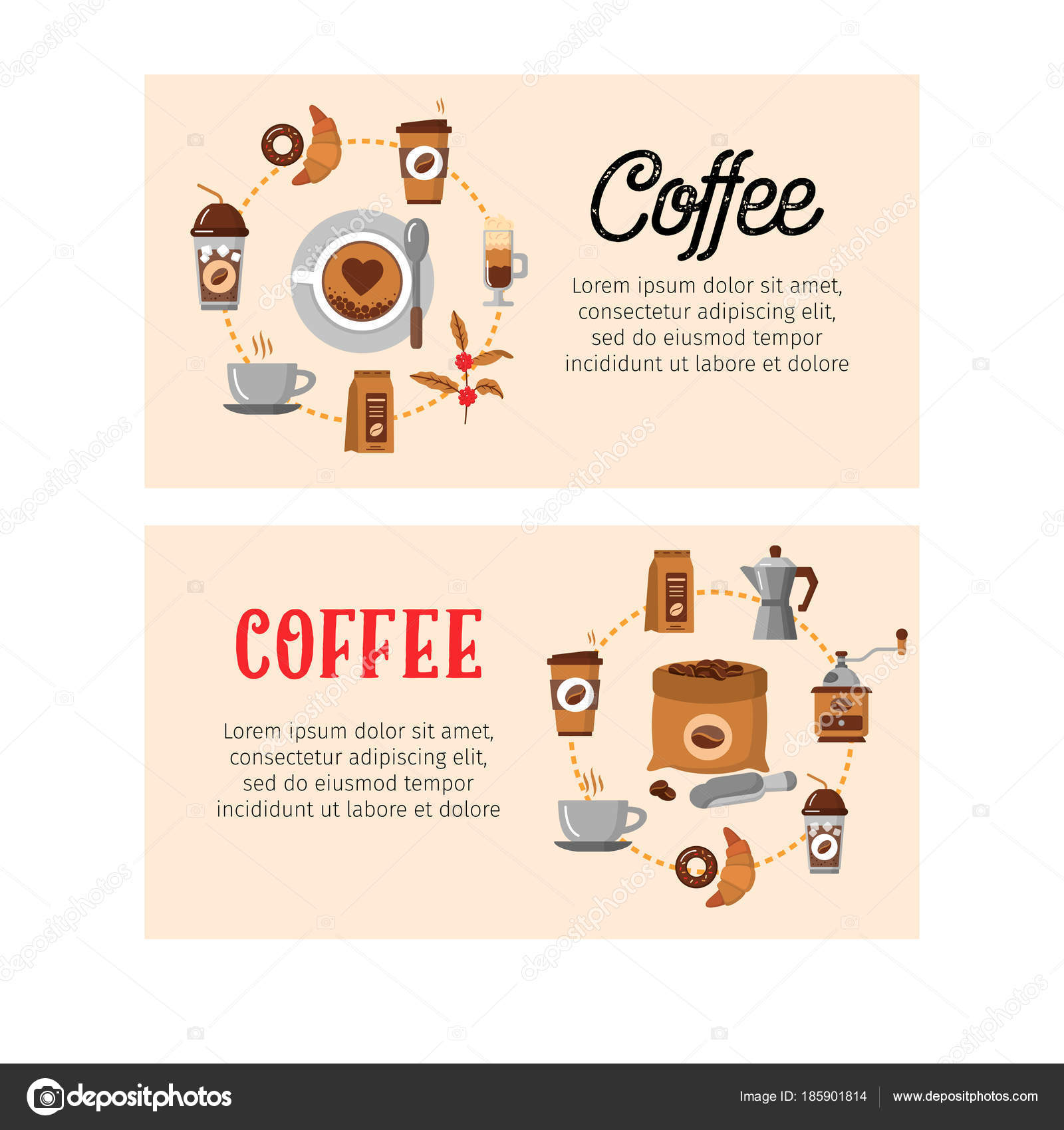 Kaffee-Design-Vorlagen. Vektor-Banner — Stockvektor © LuckyVector ...
