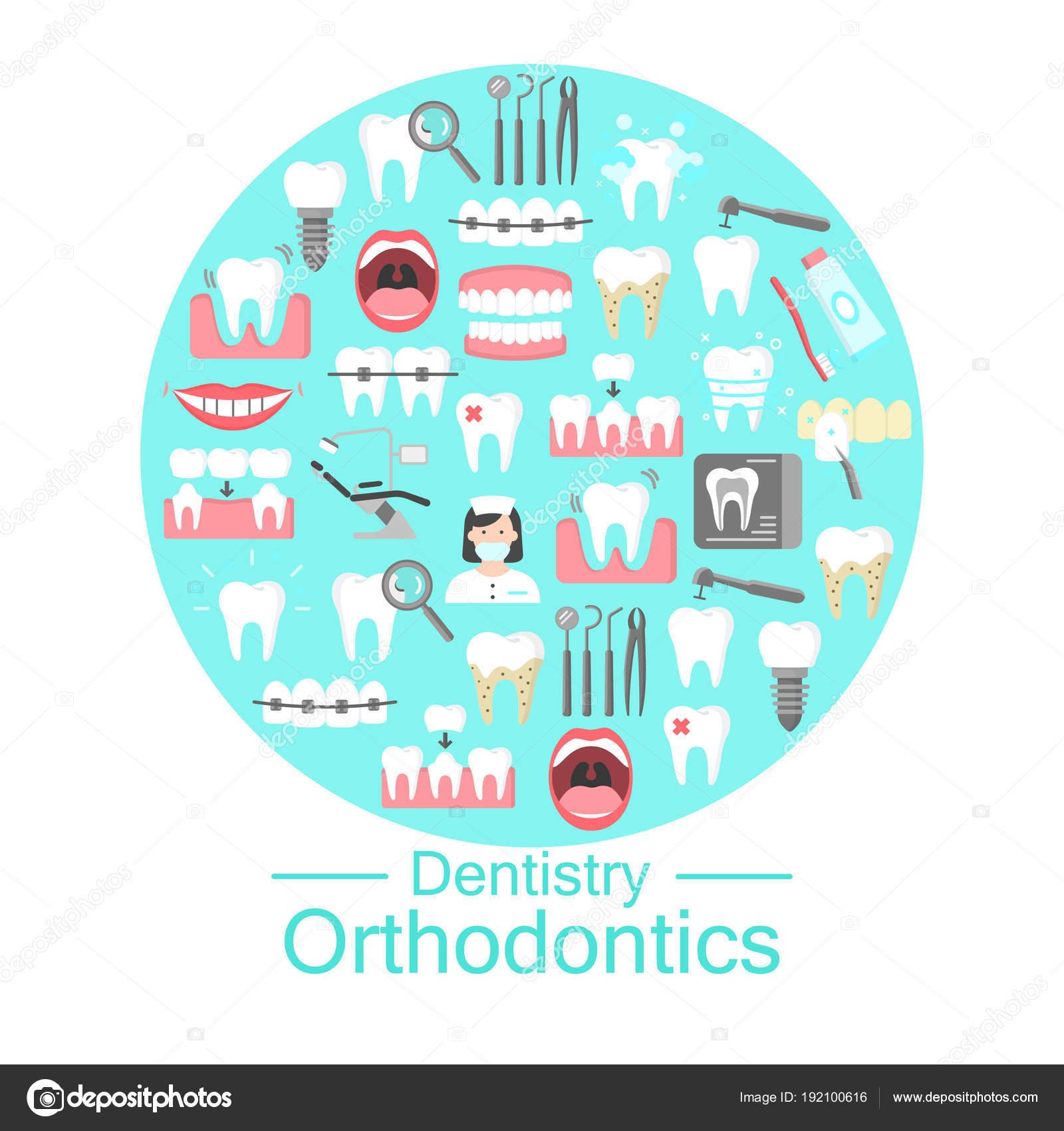 1265ba024 Odontologia e ortodontia banner com ícones simples de higiene dental de  dentadura implantaram ilustração vetorial de roentgen cavidade oral.