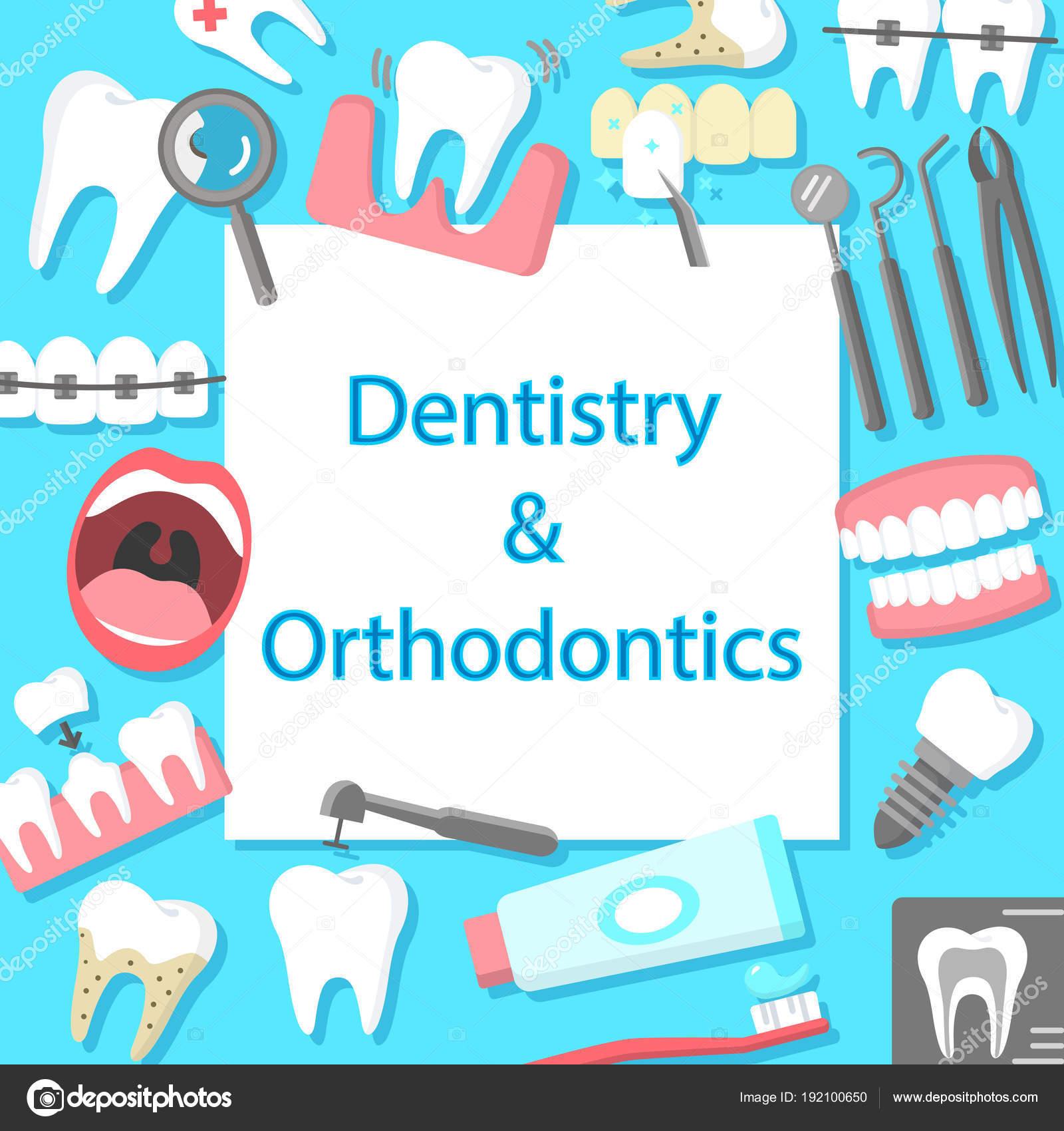 a9d8d58fc Bandeira de ícones plana de Odontologia e ortodontia — Vetores de Stock