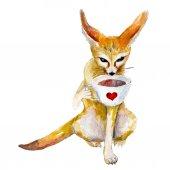 Fotografie Akvarelu ilustrace fennec Fox s šálkem kávy, izolované na bílém pozadí