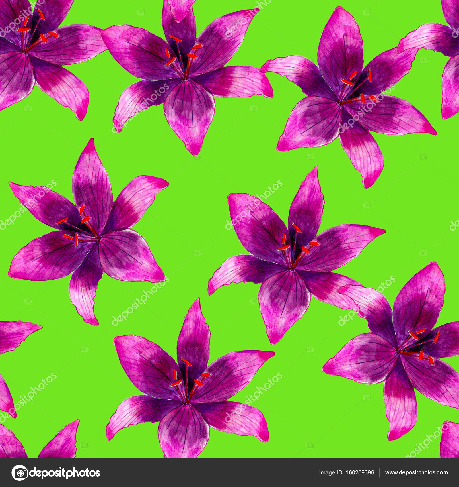 Purple lily flower watercolor seamless pattern bright tropical purple lily flower watercolor seamless pattern bright tropical flowers isolated on green background hand izmirmasajfo Images