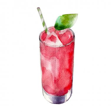 Strawberry juice in glass with mint leaf, watercolor illustration isolated on white background.